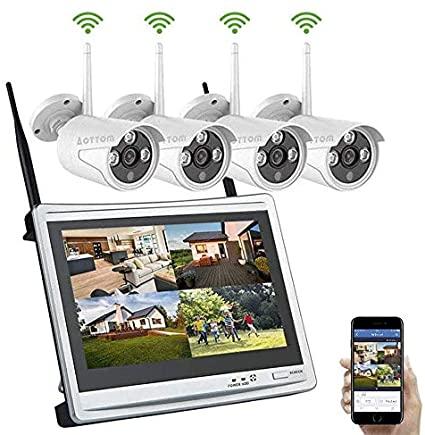 Aottom Kit Sorveglianza Videosorveglianza Wifi con Monitor LCD 12