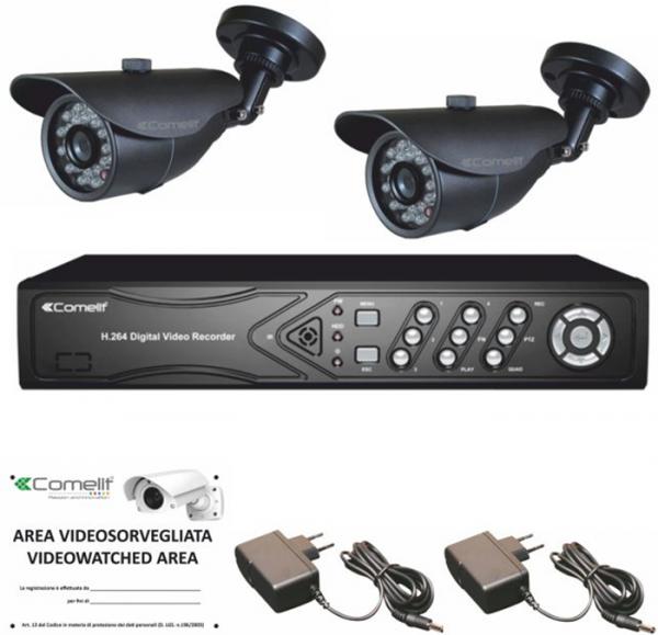 COMELIT AHKIT080C - Kit videosorveglianza con DVR 8 canali e 2