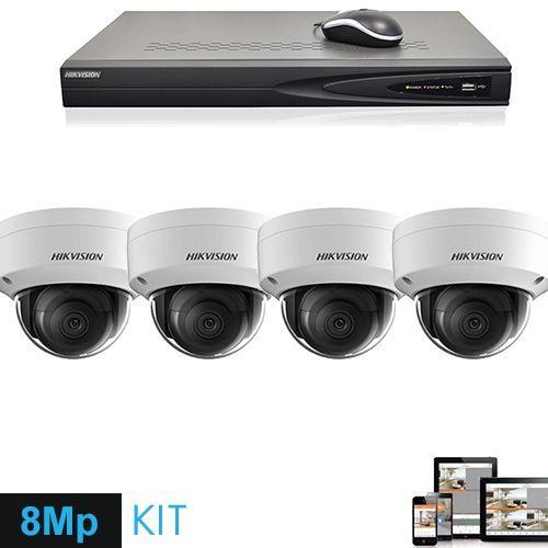 Hikvision Telecamera IP 4K Ultra HD 8 Megapixel set 4x Dome