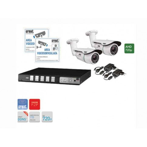 Kit cameras for cctv Urmet video recorder 4 channel AHD 720P and
