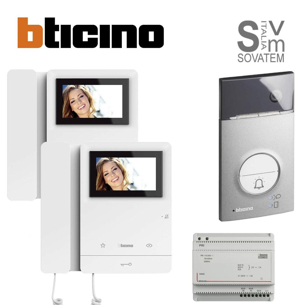 KIT VIDEOCITOFONO BIFAMILIARE BTICINO LINEA 3000 VIDEO CLASSE