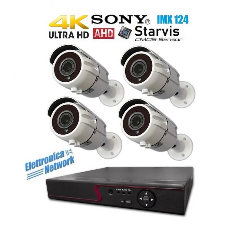 Kit Videosorveglianza 4K 4 Telecamere esterno professionale