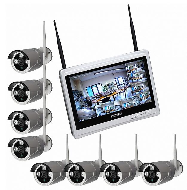 Kit videosorveglianza 8 telecamere Wifi con registratore e monitor