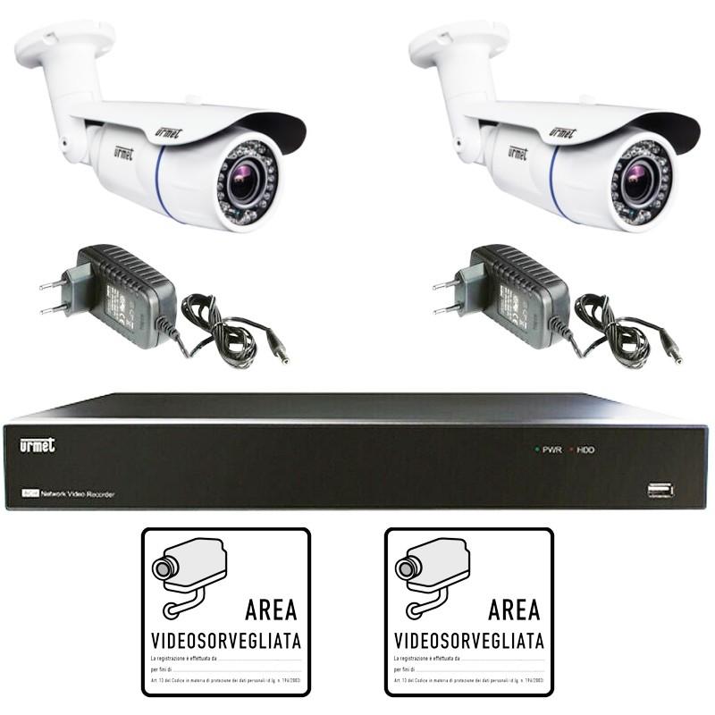 KIT Videosorveglianza Urmet AHD 4 Canali con 2 telecamere 1097/800A