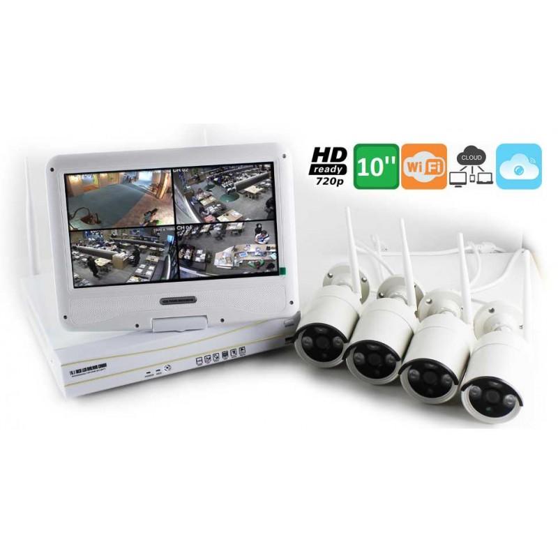 Kit videosorveglianza wifi con monitor 4 telecamere