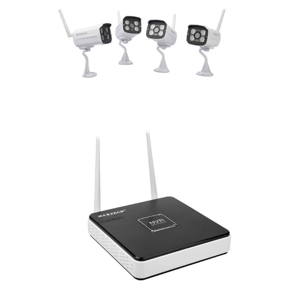 MAXTECH - Kit 4 Telecamere Di Videosorveglianza Wireless Hd Ip Nvr