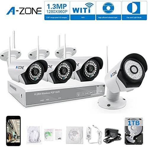 Offerta di oggi - A-ZONE Kit Videosorveglianza WIFI 4 canali 960P