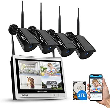 TMEZON 4CH Kit di Sorveglianza Videosorveglianza Wifi con Monitor