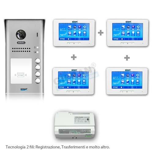Videocitofono 2 fili 4 appartamenti - Videocitofono Casa - Villa
