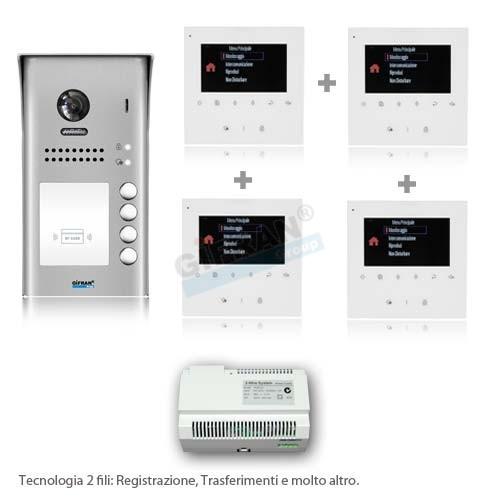 Videocitofono quadrifamiliare - Videocitofoni 2 fili professionali
